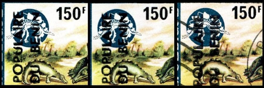 Surcharge variation of overprinted stamp of Stegosaurus from prehistoric stamps set of Dahomey 1974