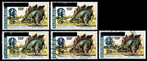 Overprinted stamp of Stegosaurus from prehistoric stamps set of Dahomey 1974