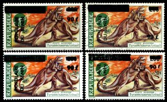 Overprinted stamp of Tyrannosaurus from prehistoric stamps set of Dahomey 1974