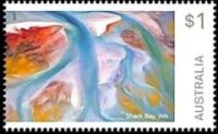 Precambrian fossil-found place Shark Bay on the Art of Nature stamps of Australia 2018