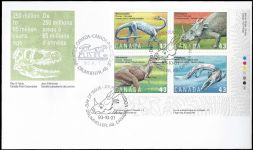 Dinosaur FDC of Canada 1993 with extra postmark of Tyrannosauris from Alberta
