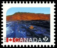 Fossil found place: Joggins Fossil Cliffs on stamp of Canada 2014