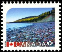 Fossil found place: Miguasha National Park on stamp of Canada 2014