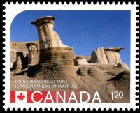 Fossil found place: Hoodos in Alberta on stamp of Canada 2015