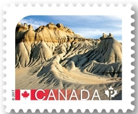 Fossil found site: Dinosaur Provincial Park in Alberta on stamp of Canada 2017
