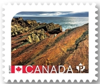 Fossil found site: Mistaken Point on stamp of Canada 2017