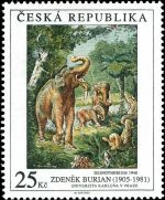 Deinotherium on works of art on postage stamps of Czech Republic 2005