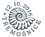 Ammonite on postmark of Czech Republic 2016