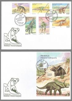 Dinosaurs on FDC of Guinea 1997