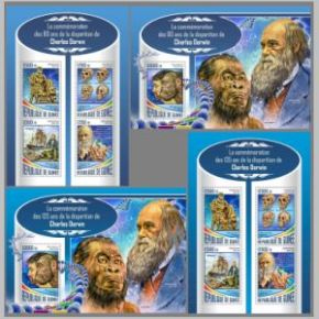 Charles Darwin on stamps of Guinea 2017