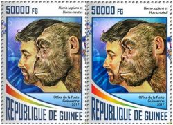 Homo erectus on stamp of Darwin 2017