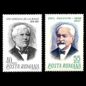 Ionescu de la Brad and Emil Racovita on stamps of Romania 1968