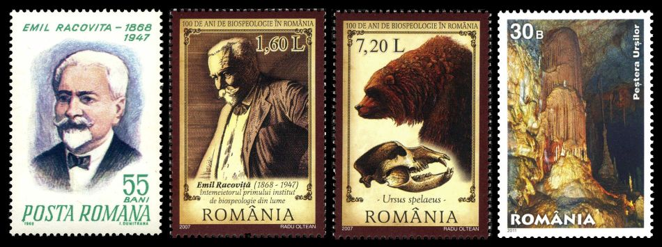 Emil Racovita, cave bear and Ursilor Cave on stamps of Romania