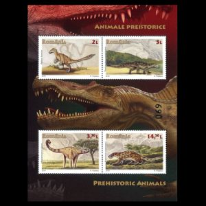 Dinosaurs and prehistoric animals of limited edition Mini-Sheet of Romania 2016