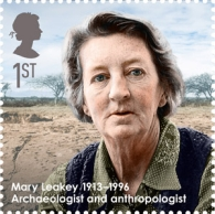 Mary Leakey on stamp of UK 2013
