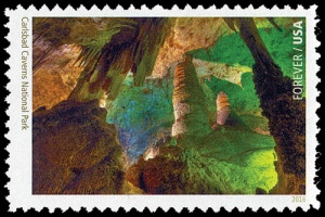 Carlsbad Caverns National Park fossil-found place on stamp of USA 2016
