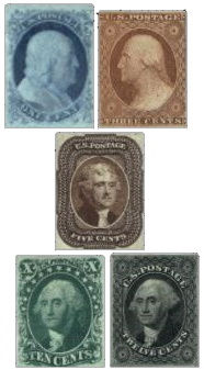 Thomas Jefferson's stamp in multi-year definitive set of 5 stamps, USA 1851-1856