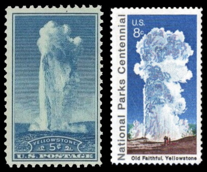 The Yellowstone National Parkon stamp of USA 1935 and 1972