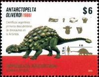 Dinosaur Antarctopelta oliverois on stamp of Argentina 2015