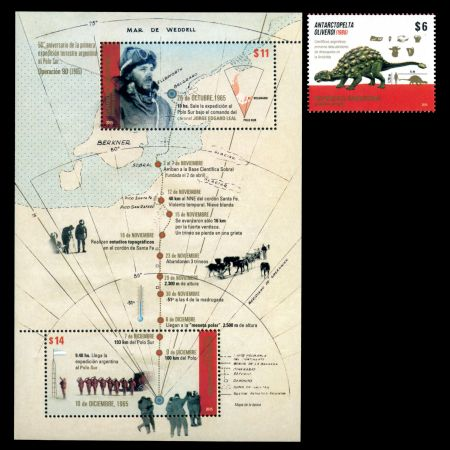 Argentina in Antarctica and dinosaur Antarctopelta oliverois on stamps of Argentina 2015