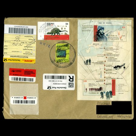 circulated cover with Dinosaur Antarctopelta oliverois stamp of Argentina 2015