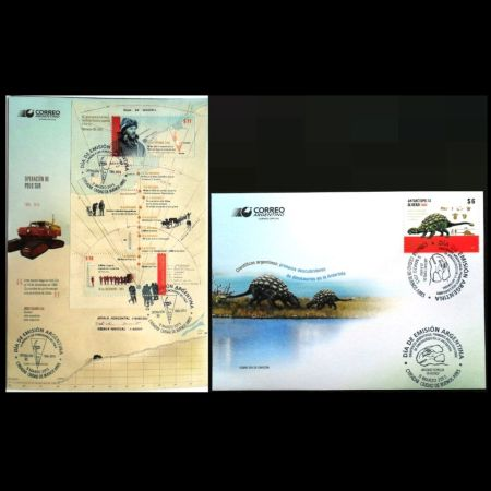 Argentina in Antarctica - 50th Anniversary of Operation 90 and Argentina scientists: first dinosaurs's doscovers in Antarctica on FDC of Argentina 2015