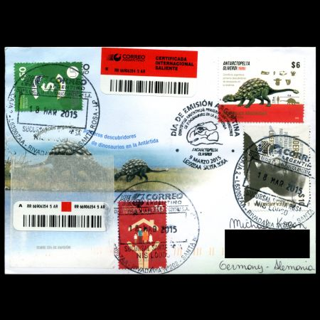 circulated FDC with Dinosaur Antarctopelta oliverois stamp of Argentina 2015