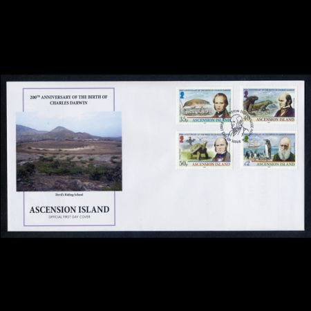 Charles Darwin on FDC of Ascension Island 2009