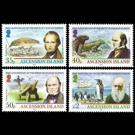 Charles Darwin on stamp of Ascension Island 2009