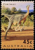 Allosaurus dinosaur on stamp of Australia 1993