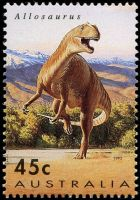 Timimus dinosaur on stamp of Australia 1993