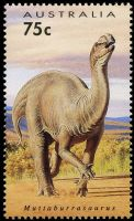 Muttaburrasaurus dinosaur on stamp of Australia 1993