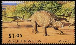 Minmi dinosaur on stamp of Australia 1993