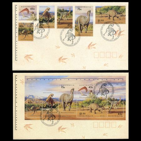 Dinosaur era stamps on FDC of Australia 1993