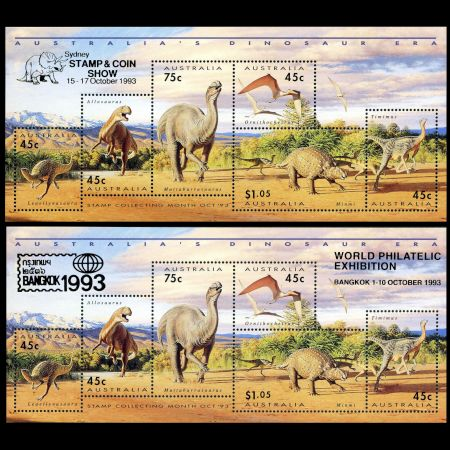 Dinosaurs on mini sheet of Australia 1993