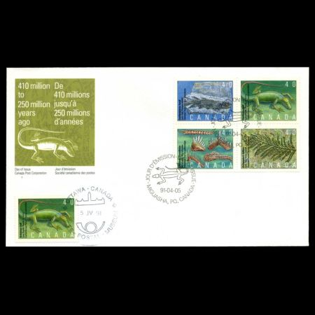 Prehistoric Life in Canada, The Age of Primitive Life on FDC of Canada 1991