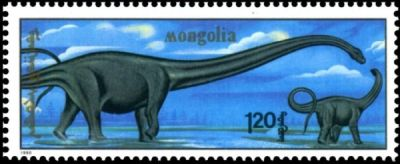 Mamenchisaurus on stamp of Mongolia 1990