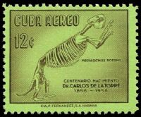 Megalonyx on stamp of Cuba 1958