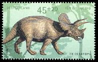 Triceratops dinosaur on stamp of Germany 2008