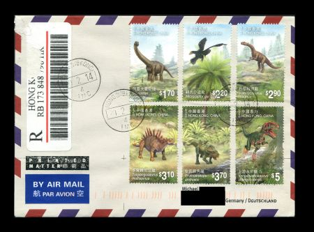 circulated cover with Chinese Dinosaurs stamps of Hong Kong 2014