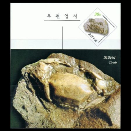 Ditomopharangia pterosaur fossil on integrated stamp of postal stationery of North Korea 2013