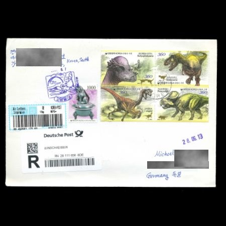 Dinosaurs on stamps on cover of South Korea 2012