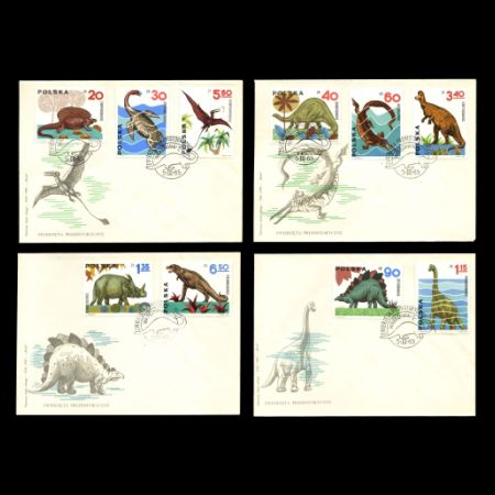 Prehistoric animals on FDC of Poland 1965