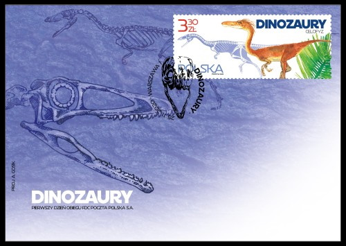 Coelophysis dinosaur on stamp of Poland 2020
