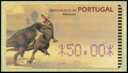 Allosaurus on ATM stamp of Portugal 1999
