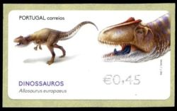 Allosaurus on ATM stamp of Portugal 2015