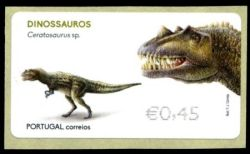 Ceratosaurus on ATM stamp of Portugal 2015