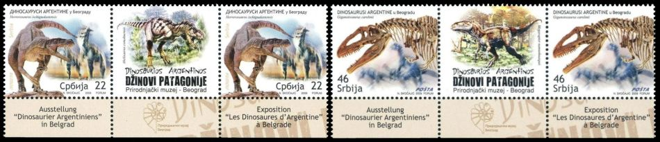 Aregentian Dinosaurs oin stamps of Serbia 2009