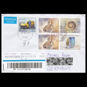 Fossil and mineral stamps of Serbia 2020 on circulated letter