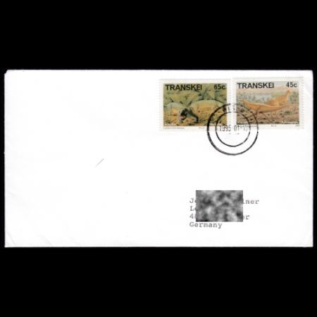 Prehistoric animals stamps on used cover from Transkei